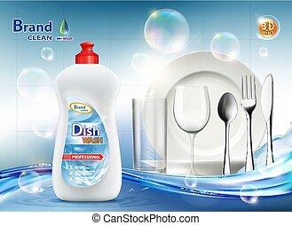soap., platte, dishwashing flüssigkeit, verpackung, sauber,...