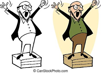 Soapbox - A man shouts a speech from on top of a soapbox
