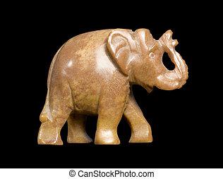 soapstone elephant sideways - small brown soapstone figure ...