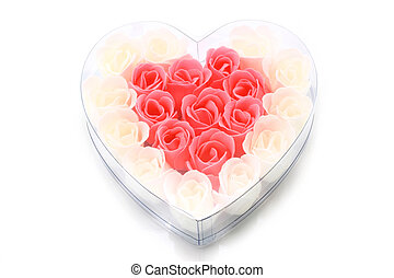 Soapy roses arranged in a heart for