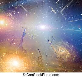 Soar - People soaring toward light amongst stars
