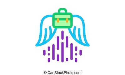soaring career Icon Animation. color soaring career animated icon on white background