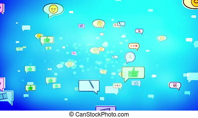 """""""A cheerful 3d rendering of social media bubbles flying directly. They look like hilarious emoticons, pens, thumb up gestures, symbols in the bright sky blue background. Loopable. """""""