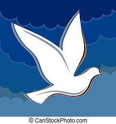 Soaring dove in the blue sky logo