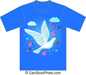 Soaring dove with flower, tshirt