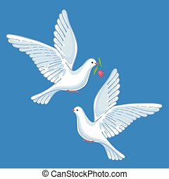 Soaring doves with flower