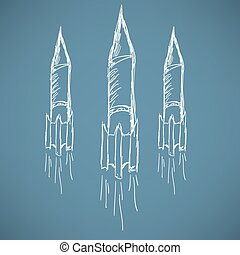 Soaring rocket ship cartoon icon. Sketch