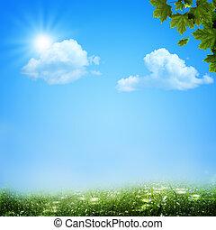 sob, a, céus azuis, abstratos, natural, fundos