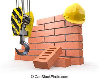 sob, construction., parede tijolo, guindaste, e, hardhat