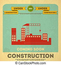 sob, desenho, construção, cartaz
