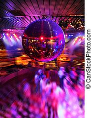 sob, espelho, dançar, bola, discoteca