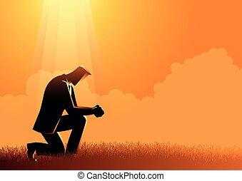sob, homem, luz, orando