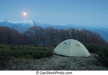 sob, lua, acampamento, noturna