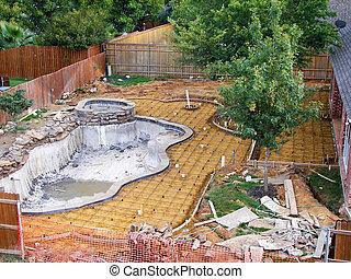 sob, piscina, construção