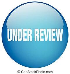 sob, revisão, azul, redondo, gel, isolado, empurre botão