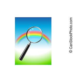 sob, vidro, magnificar, arco íris, coloridos