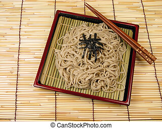 Soba - Japanese noodles,soba,on a bamboo floor.