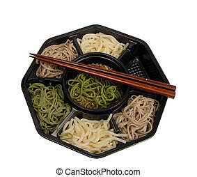 Soba lunch box and chopsticks-clipping path