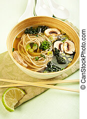 Black Tuscan Kale and Soba noodle in a vegetable broth with mushroom
