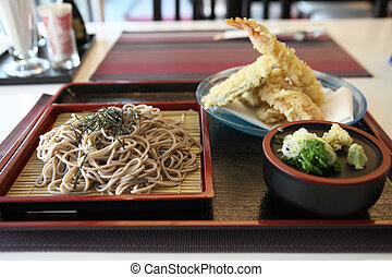 Soba noodle with fried shrimp