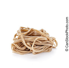 Soba noodles isolated on white background