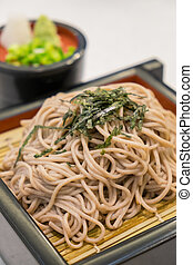 Soba ramen is buckwheat noodles, japanese style food