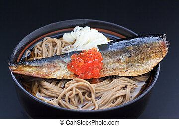 Soba with herring - Japanese buckwheat noodles in hot soup