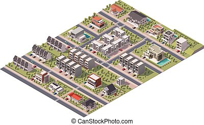 sobborgo, isometrico, vettore, mappa