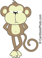 sober monkey - isolated cartoon monkey, individual objects...