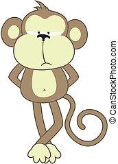 sober monkey - isolated cartoon monkey, individual objects...