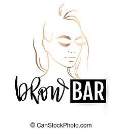 sobrancelha, portrait., sobrancelha, salão, barzinhos, logotipo, bonito, vetorial, beleza, menina, caligrafia