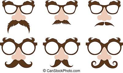 sobrancelhas, furry, óculos, closeup, nariz, fraude, bigode