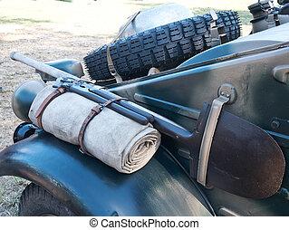 sobrante, all-terrain, viejo, neumático, vehículo