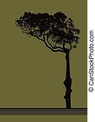 sobre, árvore, vetorial, desenho, fundo, azeitona