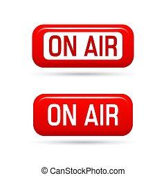 sobre aire, vector, signo., vivo, corriente, símbolo., illustrration, en-aire, señal, transmisión, medios, sonido, radio, y, televisión, record.