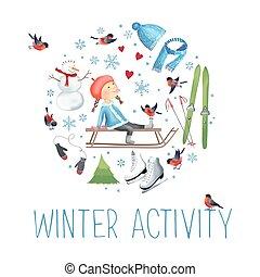 sobre, al aire libre, activities., invierno, ilustración, vector