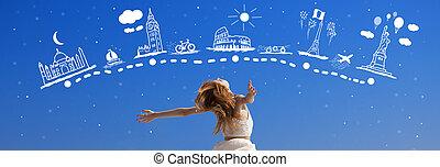 sobre, alrededor, viajar, soñar, pelirrojo, niña, world.