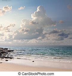 sobre, amanhecer, mar