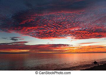 sobre, amanhecer, mar, cortez
