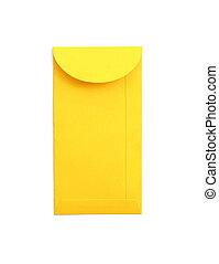 sobre amarillo, aislado, blanco, plano de fondo