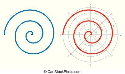 sobre, archimedean, espiral, branca, aritmética