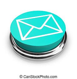 sobre azul, botón, -, email