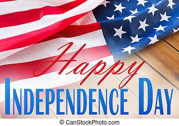 sobre, bandeira, americano, palavras, dia, independência,...