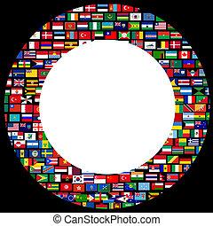sobre, bandeiras, fundo, mundo, círculo, quadro, pretas