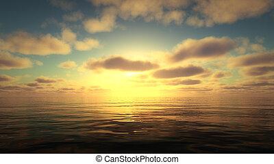 sobre, beautifully, oceano ocaso