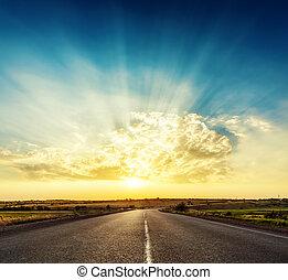 sobre, bom, pôr do sol, estrada asfalto