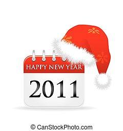sobre, boné, santa, ano, calendário, 2011