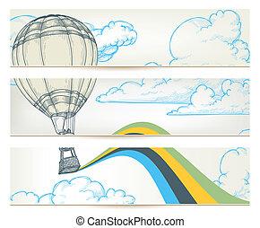 sobre, céu, ar, quentes, vetorial, bandeiras, balloon