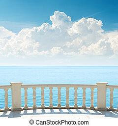 sobre, céu, mar, nublado, sacada