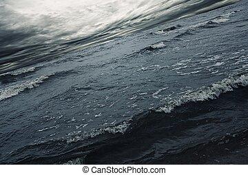sobre, céu, mar tempestuoso